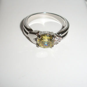 New Silver Yellow Stone Ring